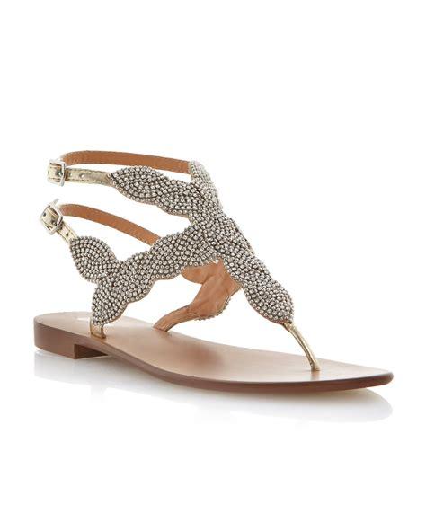 bead sandals dune karper leather beaded toe post sandals in metallic lyst