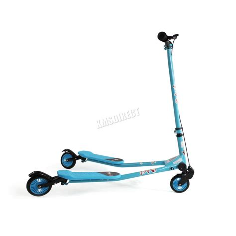 swing scooters foxhunter kids 3 wheel swing tri slider motion winged push