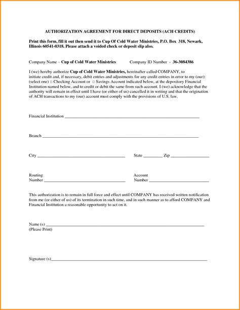 Authorization Letter Agreement Ach Form Sle Forex Trading