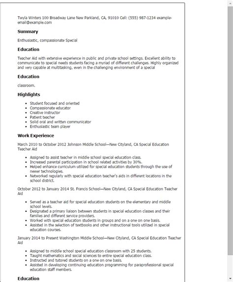 Resume Sles For Special Education Teachers Assistants Assistant Resume Exle Best Resume Collection