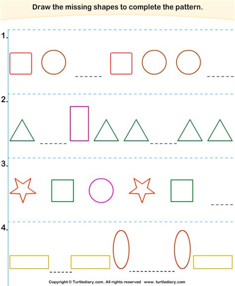 complete the pattern for kindergarten complete the missing pattern worksheet 2 turtle diary