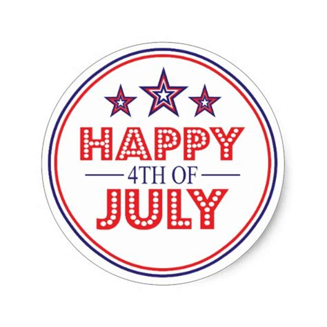 Fourth Of July Stickers happy 4th of july favor stickers zazzle