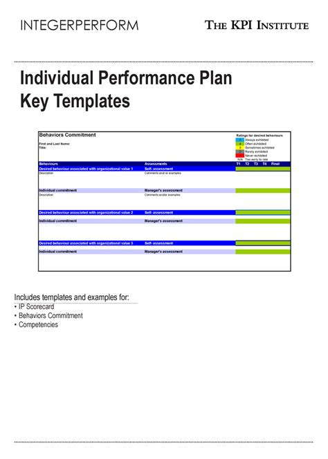 performance management plan template individual performance plan key templates e book course