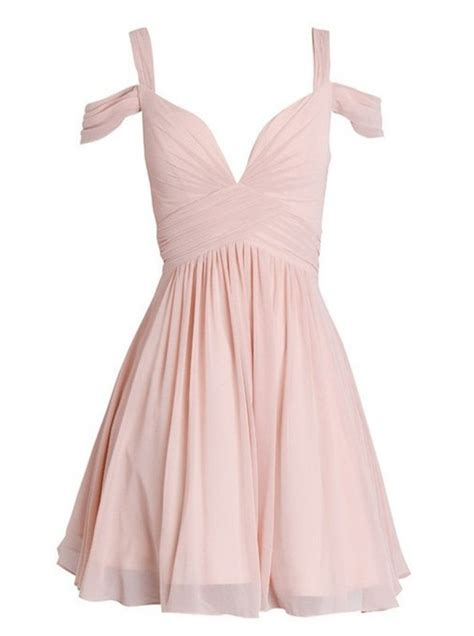 Buy A Line Straps Short Pearl Pink Chiffon Bridesmaid Dress with Ruched Wedding Party Dresses