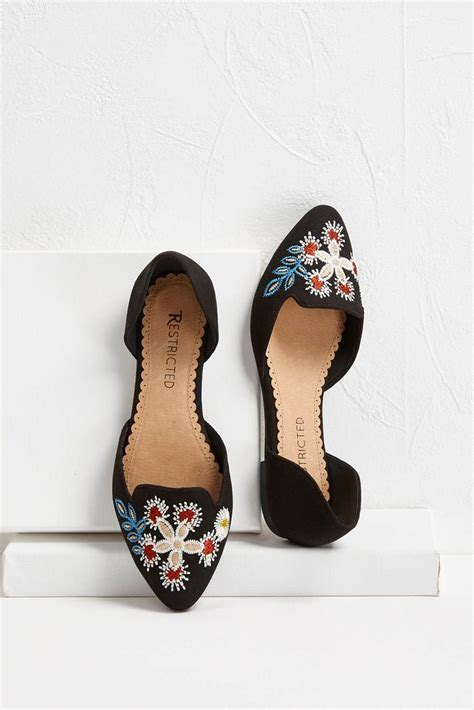 embroidered flat shoes versona floral embroidered flats