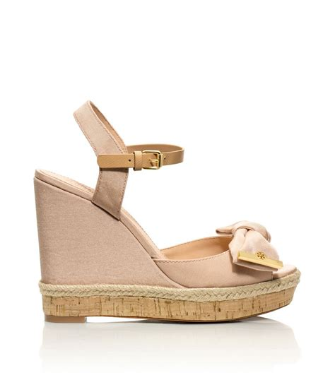 burch sandals wedge burch wedge sandal in pink camellia pink lyst