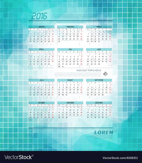 Business Card Calendar Template 2016 Free by Business Calendar Template For 2016 Royalty Free Vector