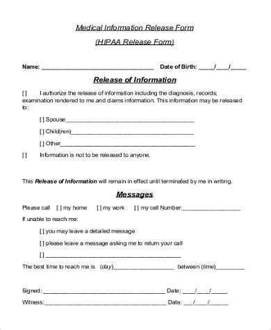 Hippa Release Form Sle 9 Exles In Word Pdf Hipaa Records Release Form Template