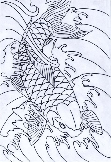 koi fish tattoo outline designs black koi outline by iamthesorrow on deviantart