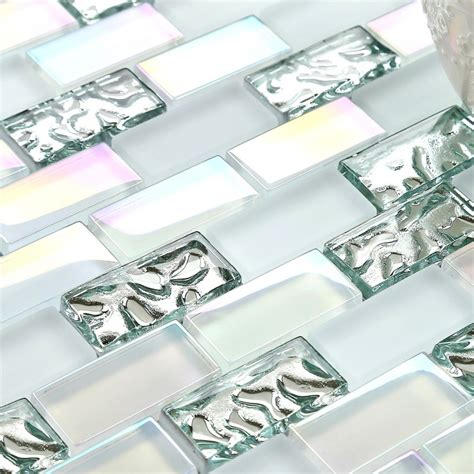 white glass mosaic tile backsplash tst glass metal tile iridescent white glass silver mirror