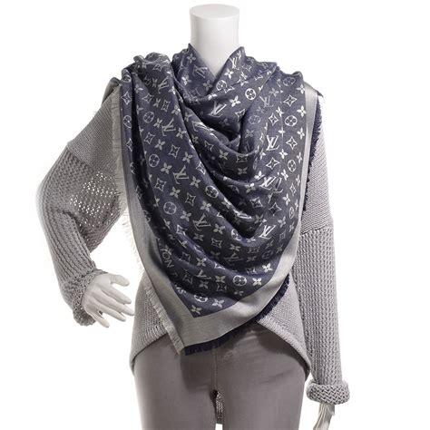 louis vuitton wool silk monogram denim shawl bleu 65002