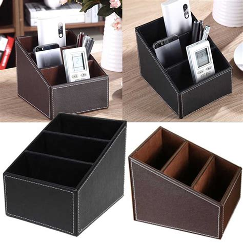 pen organizer for desk desk pu leather step organizer storage box key pen phone remote control stand ebay
