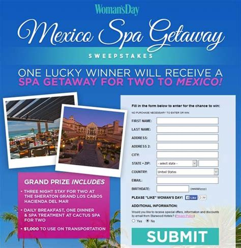 Womens Sweepstakes - womansday com mexicospa getaway sweepstakes sweepstakes pit