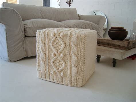 Ottoman Cover Pattern Chunky Knitted Ottoman Slip Cover