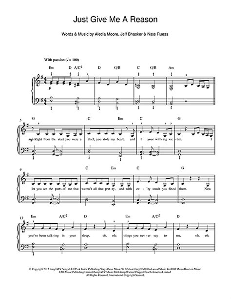 tutorial piano just give me a reason just give me a reason feat nate ruess sheet music by