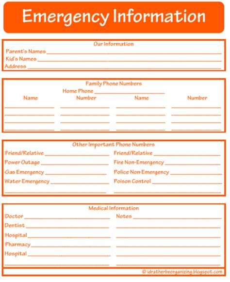 emergency information template i d rather be organizing 52 weeks of printables week 20