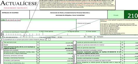 declaracion de renta 2016 colombia formularios formulario 2016 210 personas naturales oro formularios 210
