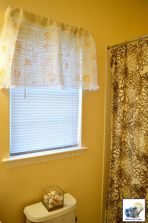 yellow burlap curtains spring guest bathroom valance momhomeguide com