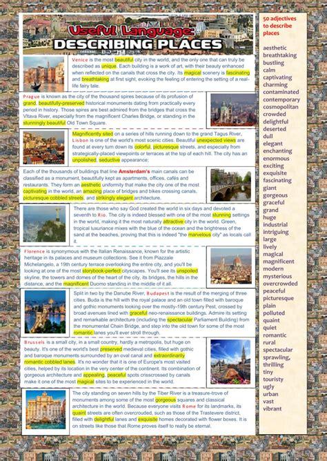 Open Sans Light Useful Language Describing Places Interactive Worksheet