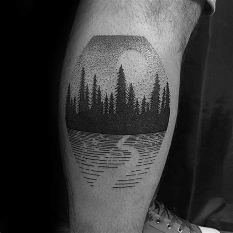 small tattoos for men on leg detailed leg calf tree forest small ideas for