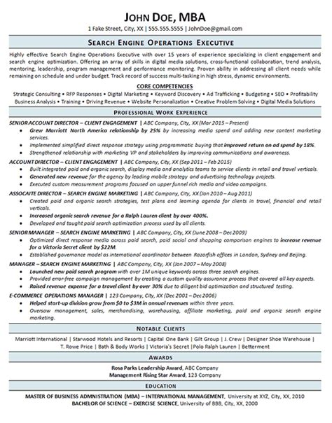 Resume Search Engine by Search Engine Optimization Resume Exle Seo Operations