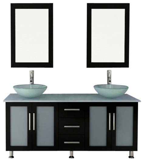 "59"" Double Lune Large Glass Vessel Sink Modern Bathroom"