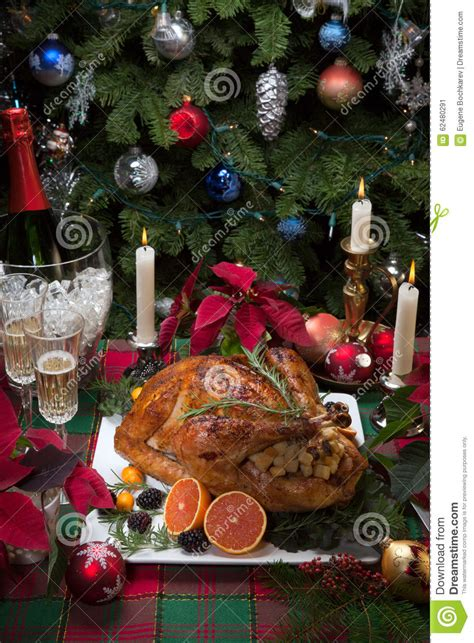 christmas turkey dinner with chagne stock photo image