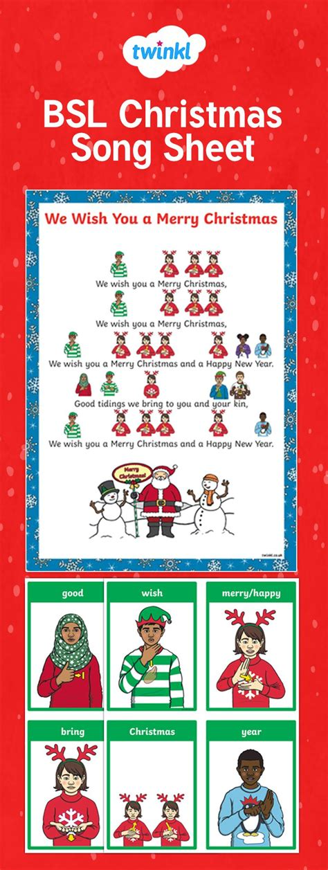 bsl     merry christmas song sheet  teach students    christmas