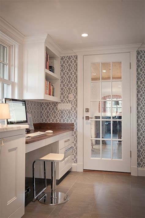 kitchen desk design gray trellis wallpaper transitional kitchen jcs