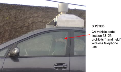 california vehicle code section 23123 busted google auto pilot car breaks traffic law