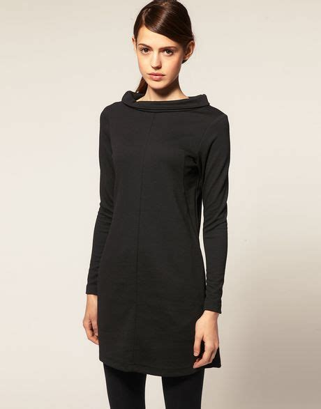 rolled boat neck dress asos collection asos shift dress with boat neck in black