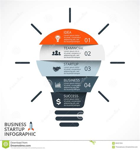 Vector Light Bulb Infographic Template For Circle Diagram Graph Presentation And Round Chart Flow Template For Startup Business