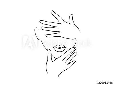 drawing art woman face  hands vector