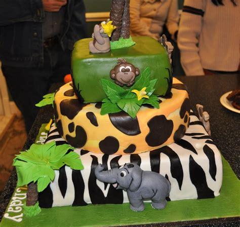 junglemonkey themed  tiered st birthday cake cakecentralcom