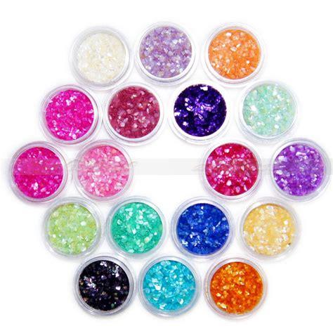 18 pcs colors nail art glitter shell crushed chips powder