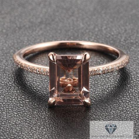 emerald cut morganite solitaire engagement ring