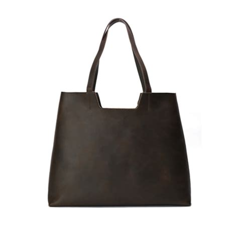 Handmade Shopping Bag - handmade top grain leather tote bag shoulder bag shopping