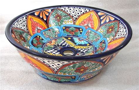 Mexican Ceramic Sink by Mexican Talavera Ceramic Bathroom Sink Vessel Top Counter