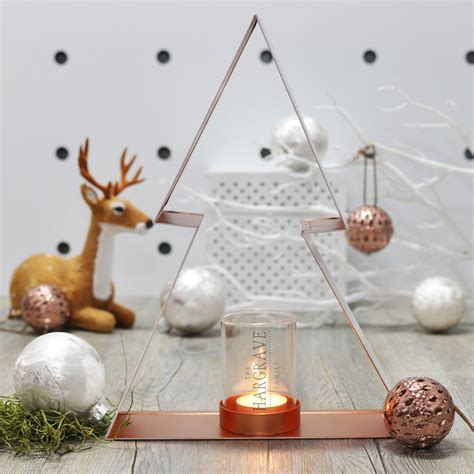 personalised copper christmas tea light candle holder