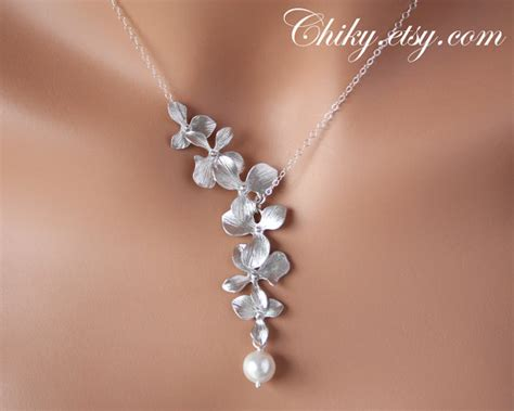 Wedding Gift Necklace by Orchid Necklace With Single Pearl Sterling Silver