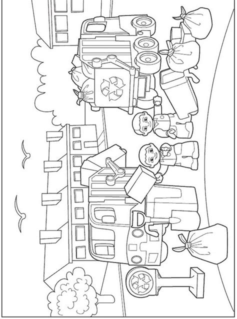 lego duplo coloring garbage day colouring pages for