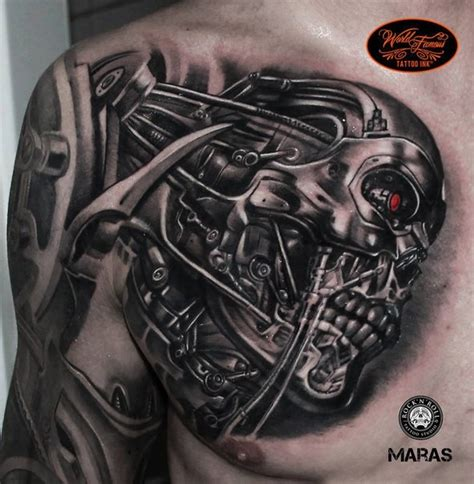 tattoo 3d terminator 3d style colored chest tattoo of terminator robot