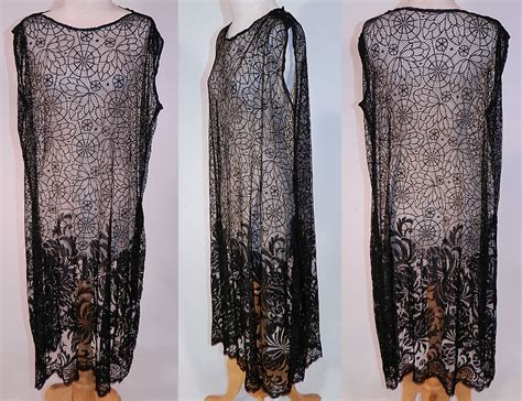 Wed To Be Dresses by Vintage Black Spider Cob Web Lace Net Floral Pattern Drop