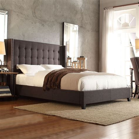 grey wingback bed inspire q marion dark grey linen nailhead wingback tufted
