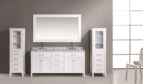 """London 72"""" Double Sink Vanity Set in White Finish with Two"""