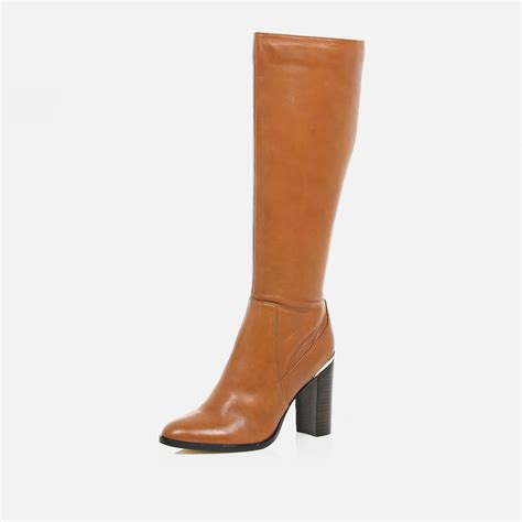 brown high heeled boots river island light brown leather knee high heeled boots in