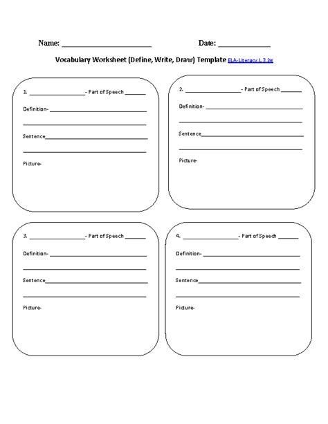 vocabulary worksheet template 3rd grade common language worksheets