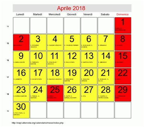 Calendario 2018 Giugno Calendario Di Aprile 2018 Data Di Pasqua