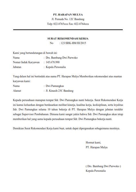 contoh surat rekomendasi kerja bahasa inggris jujubandung car service