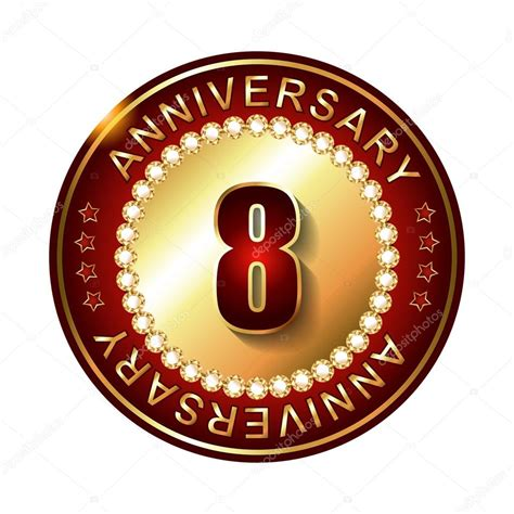 8 in years 8 years anniversary golden label stock vector 169 galastudio 66628341